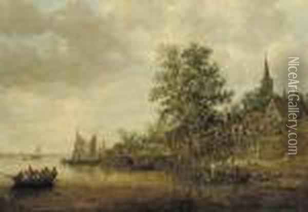 A Wooded Landscape With Shipping On A River, A Village Nearby Oil Painting - Jan van Goyen