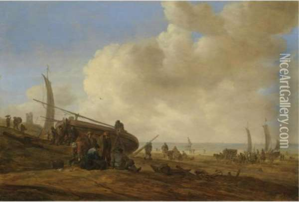 A Beach Scene, Possibly At  Egmond-aan-zee, With Figures Pushing Off An Unrigged Fishing Pink Oil Painting - Jan van Goyen