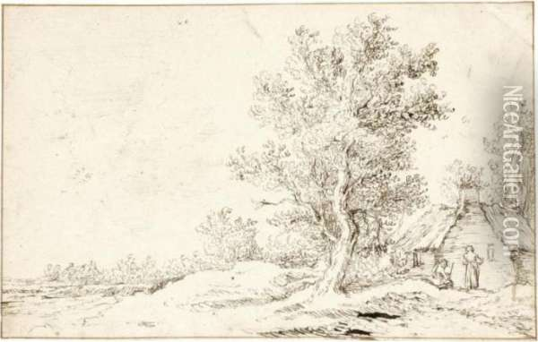 Landscape With Buildings By Trees Oil Painting - Jan van Goyen