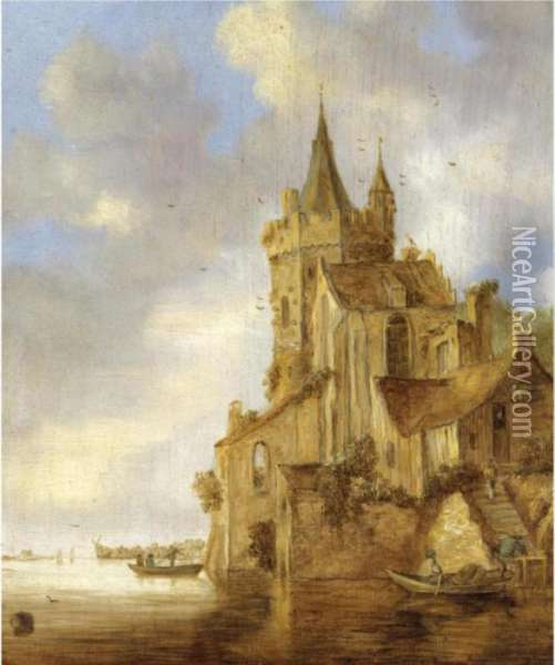 A River Scene With A Rowing Boat Before A Fortified House Oil Painting - Jan van Goyen