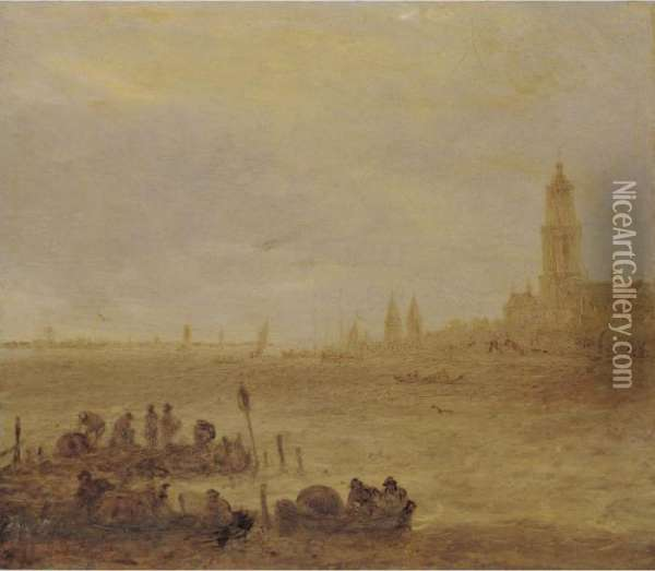 View Of The Rhine With Men In Boats, The Town Of Rhenen Beyond Oil Painting - Jan van Goyen