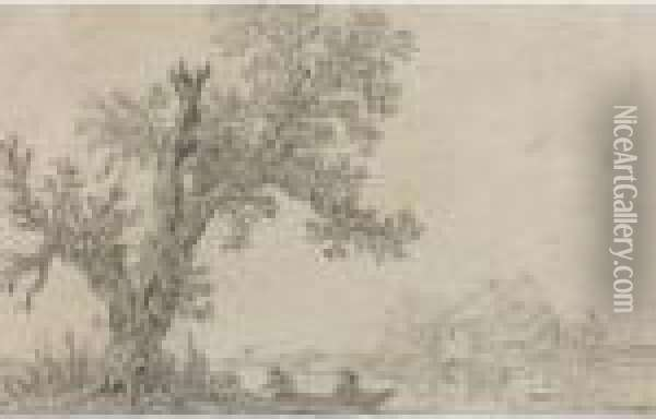 River Landscape, With Two Men  Mooring A Rowing Boat Underneath A Tree, A Cottage On The Far Bank Oil Painting - Jan van Goyen
