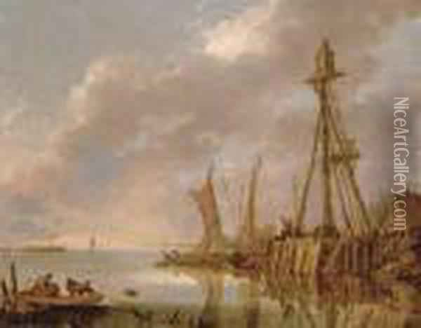 A Coastal Landscape With Fishermen Pulling In Their Catch And Boats By A Beacon Oil Painting - Jan van Goyen