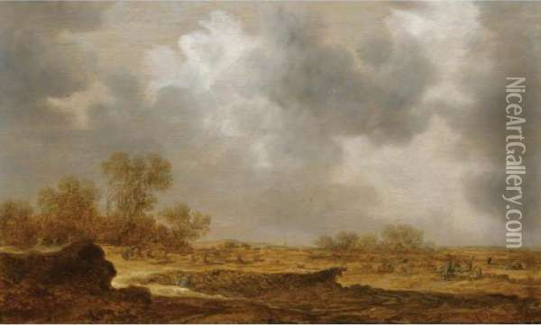 An Extensive Dune Landscape With  A Peasant Woman Bailing Hay And Two Farmers Conversing To The Right Oil Painting - Jan van Goyen