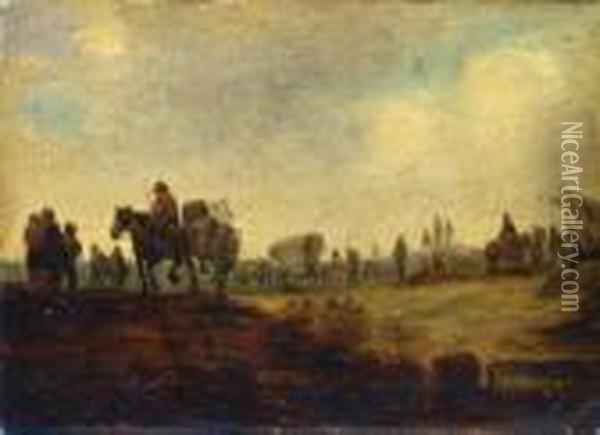 Militarisches Lager. Oil Painting - Jan van Goyen