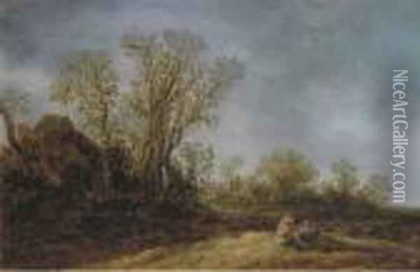 Two Peasants Resting In A Wooded Landscape, A Cottage Nearby Oil Painting - Jan van Goyen