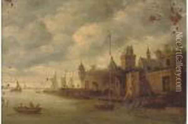 A Town On A River With Fishermen Oil Painting - Jan van Goyen