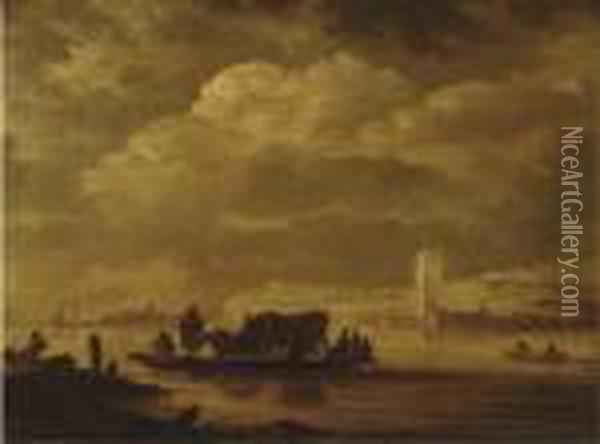 A River Landscape With A Ferry And Smaller Boats, A Town With A Large Tower Beyond Oil Painting - Jan van Goyen