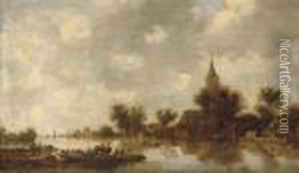 A River Landscape With A Ferry Crossing Oil Painting - Jan van Goyen