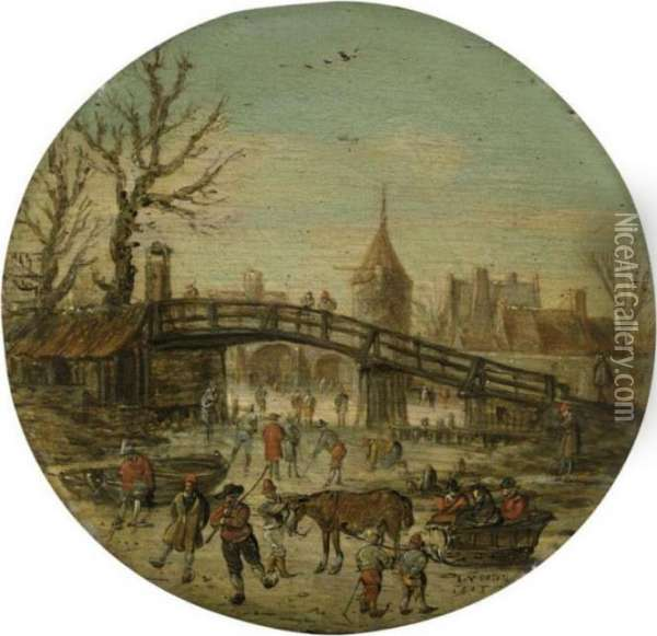 A Winter Landscape With Figures Skating On A Frozen River Before A Bridge, A Town Beyond Oil Painting - Jan van Goyen