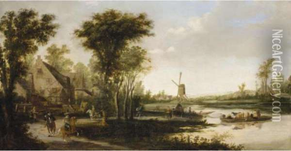 A River Landscape With Cattle  And Drovers Being Ferried Across A River, A Windmill Beyond Oil Painting - Jan van Goyen
