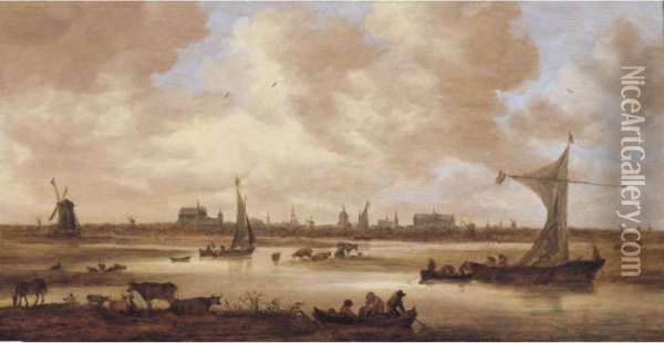 A View Of Leiden From The North, With Cattle Grazing In The Foreground Oil Painting - Jan van Goyen