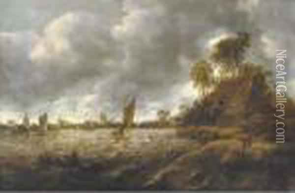 A River Landscape With Sailing Vessels In Rough Waters Oil Painting - Jan van Goyen