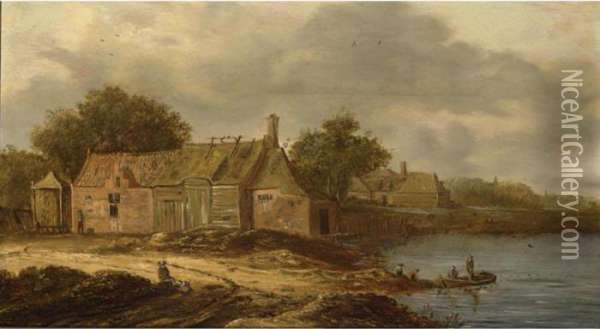 A Farm Along A River And Fishermen In A Boat, A Few Figures On The River Bank Oil Painting - Jan van Goyen