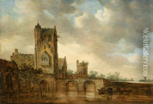 A Large House With A Tower, At  The Edge Of A River Crossed By A Two-arched Stone Bridge, Three Men In A  Rowing Boat Below Oil Painting - Jan van Goyen