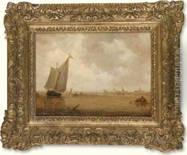 A River Landscape With A Smalschip And Rowing Boats Oil Painting - Jan van Goyen