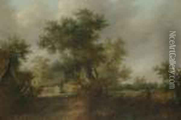 A Wooded Landscape With A Traveller On A Path At The Edge Of A Village Oil Painting - Jan van Goyen