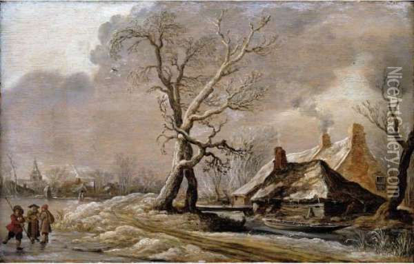 A Winter Landscape With Skaters On A Frozen Lake Oil Painting - Jan van Goyen