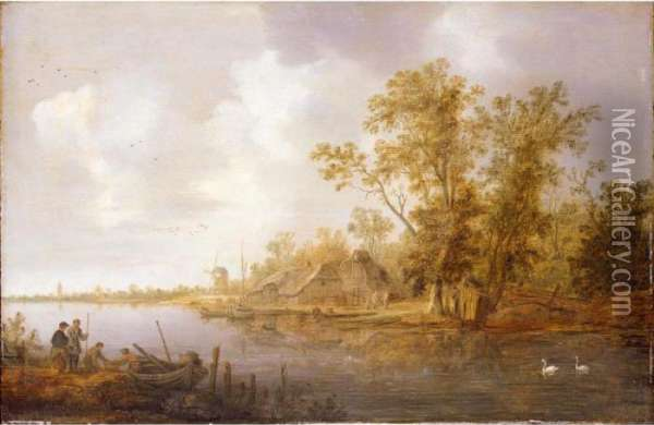 A River Landscape With A Moored 