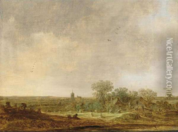 An Extensive Dune Landscape With  Corn Stooks And A Mill And A Distant View Of The Grote Kerk In The  Hague Oil Painting - Jan van Goyen