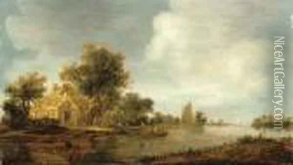 A River Landscape With A Boat And Cottages On An Embankment Oil Painting - Jan van Goyen