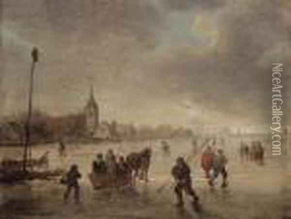 A Winter Landscape With Skaters And Kolf Players On A Frozenlake Oil Painting - Jan van Goyen