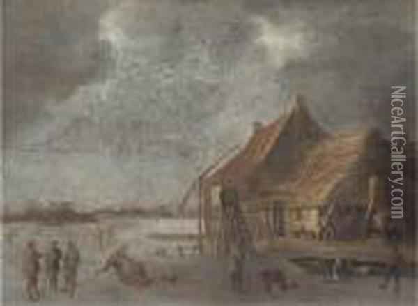 A Winter Landscape With Skaters And Kolf Players By A Village On Afrozen Lake Oil Painting - Jan van Goyen