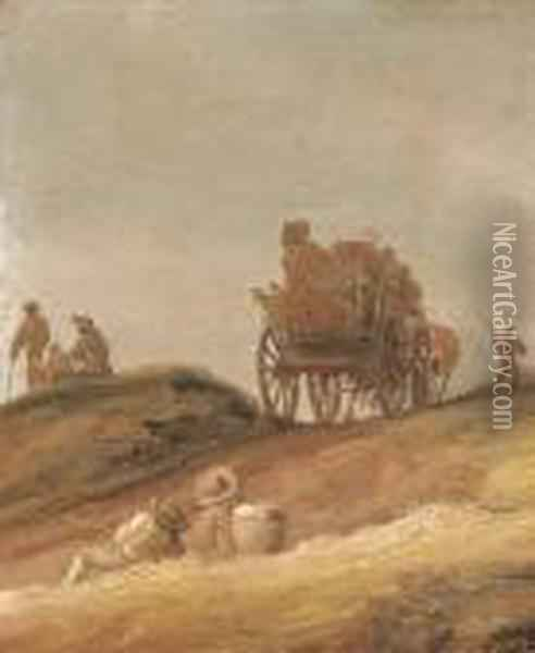 A Dune Landscape With Peasants In A Horsedrawn Cart And Travellersresting On A Path Oil Painting - Jan van Goyen