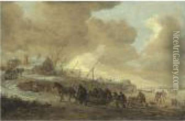 A Frozen River With Horse-drawn Sleds On A Bank, Cottages Beyond Oil Painting - Jan van Goyen