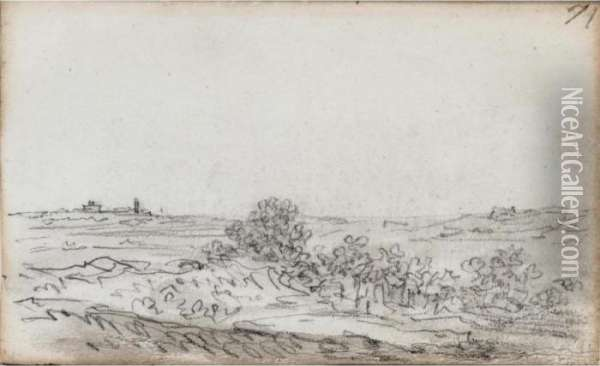 Landscape With Bushes And A Group Of Trees, With Buildings In The Distance Oil Painting - Jan van Goyen