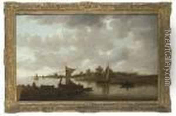 An Extensive River Landscape With Sailing Barges And Figures On Abank, Buildings Beyond Oil Painting - Jan van Goyen