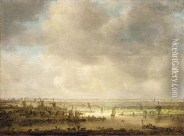 Panoramic Landscape With Windmills And Boats Oil Painting - Jan van Goyen
