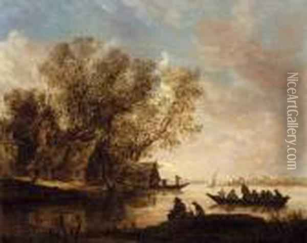 A River Landscape With Fishermen And A Cottage On The Bank Oil Painting - Jan van Goyen