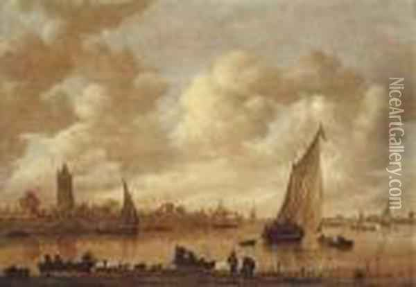 A View Of Gorinchem With Shipping On The Rhine In Theforeground Oil Painting - Jan van Goyen