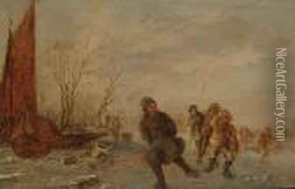 A Winter Landscape With Figures Skating On A Frozen River Oil Painting - Jan van Goyen