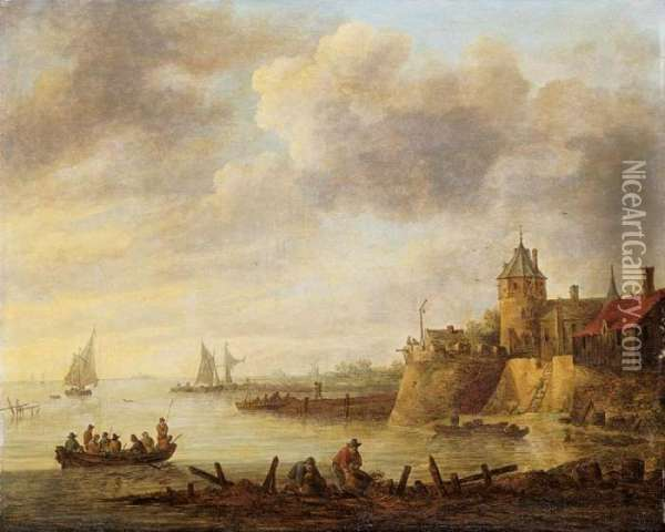 River Scene With A Fortified Shore Oil Painting - Jan van Goyen