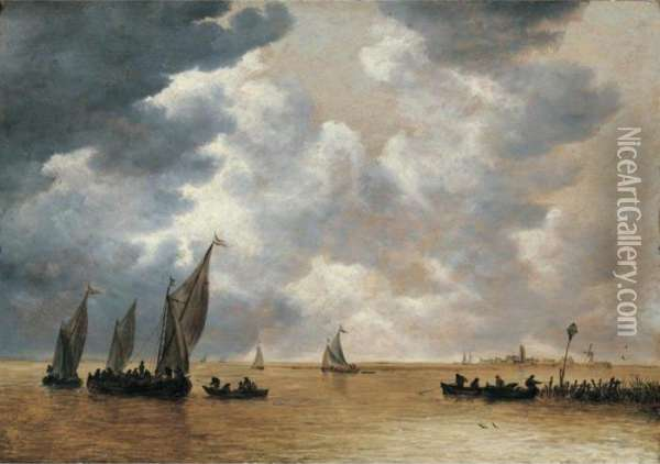 An Estuary Scene With Small Vessels In Light Airs, And A Distant View Of Woudrichem Oil Painting - Jan van Goyen