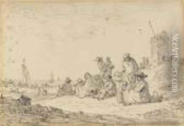 Figures Seated Among Dunes, A Tower To The Right, Ships Drawn Up On The Beach Beyond Oil Painting - Jan van Goyen