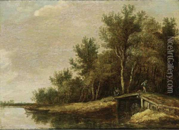 A River Landscape With A Fisherman In A Rowing Boat, And A Traveller On A Bridge Oil Painting - Jan van Goyen