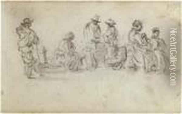 A Sketchbook Page: Study Of Six  Figures At A Marketplace, Two Discussing Goods, Another Seated On A  Wheelbarrow Oil Painting - Jan van Goyen