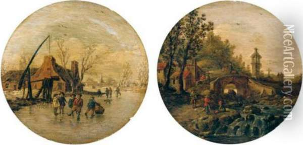 Winter And Summer Landscapes Oil Painting - Jan van Goyen