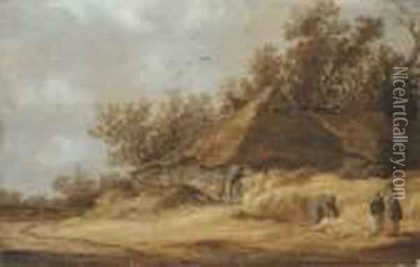 A Dune Landscape With Peasants  Conversing By A Farm And Othersstanding By A Dead Boar On A Sandy Road Oil Painting - Jan van Goyen