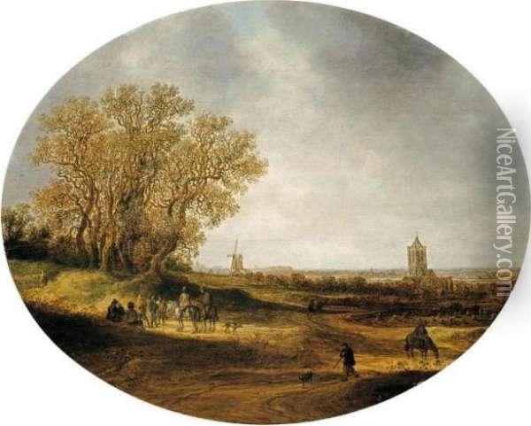 Two Riders And Other Figures On A  Road, With A Distant View Of The Church Of Nieder-elten Oil Painting - Jan van Goyen