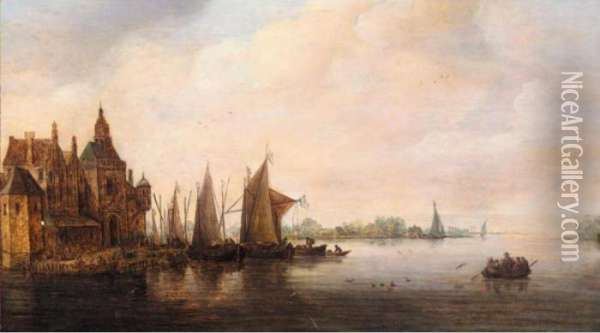 A River Landscape With Various Vessels Moored Beside A Quay Oil Painting - Jan van Goyen