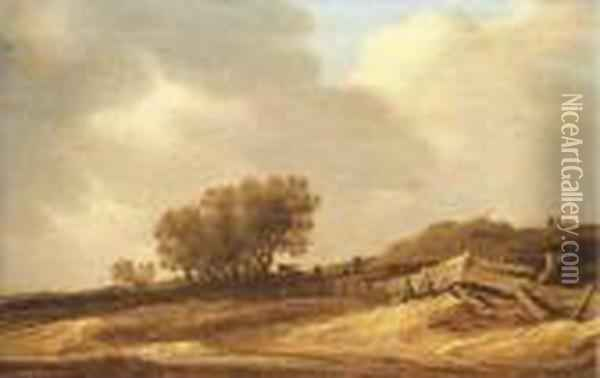 Sand Dunes And Figures Leaning On A Fence Oil Painting - Jan van Goyen