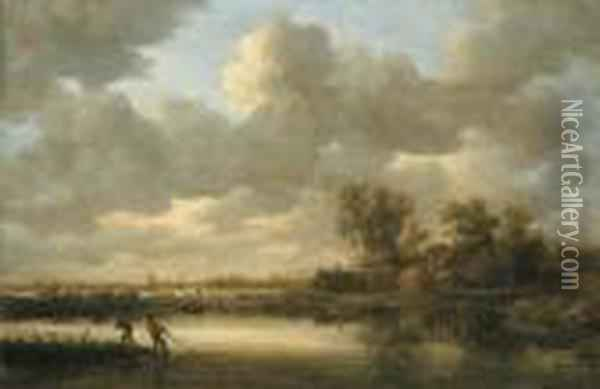 Fishermen Drawing In Their Nets Oil Painting - Jan van Goyen
