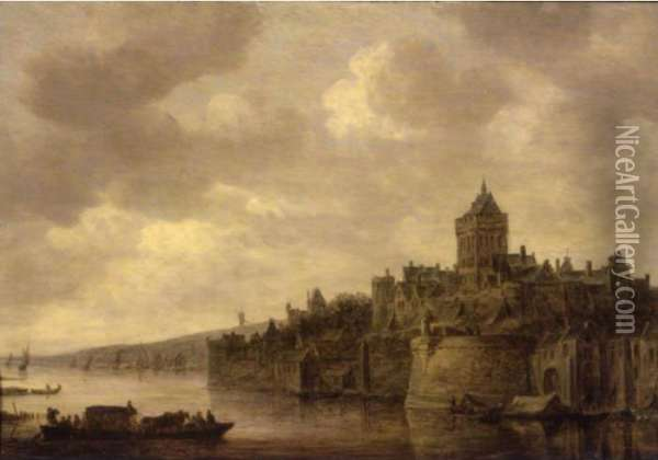 The Valkhof At Nijmegen,with A Ferry On The River Waal In The Foreground Oil Painting - Jan van Goyen