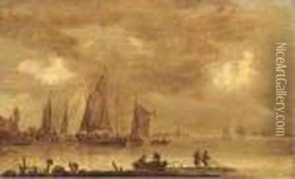 An Estuarine Landscape With  Fishermen Drawing In Nets In The Foreground, Boats By A Jetty Beyond Oil Painting - Jan van Goyen