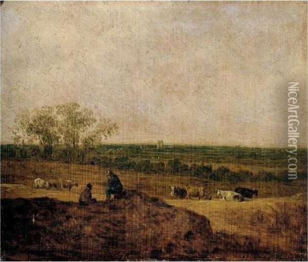 A Dune Landscape With Two  Figures Conversing In The Foreground, Cattle Grazing In The Middle  Distance, A Tower Beyond Oil Painting - Jan van Goyen
