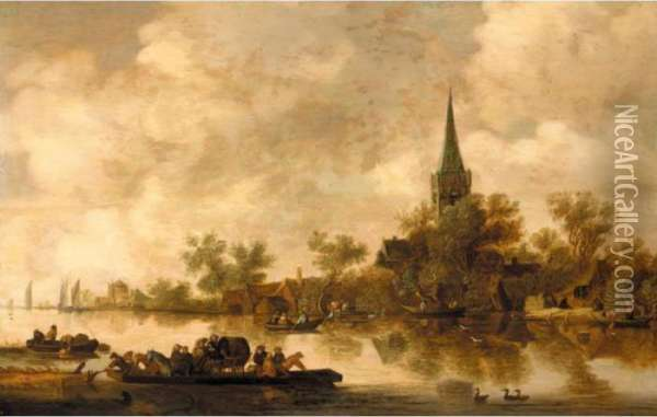 An Estuary Landscape With A Ferryboat And A Church Beyond Oil Painting - Jan van Goyen